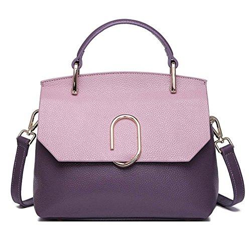 Xinmaoyuan Sacs à main pour femme Sacs à main en cuir sac à main d'épaule Unique Couleur Hit Sac en cuir sauvage de mode paquet Coffin Purple