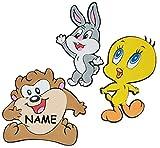 Unbekannt 3 tlg. Set: 3-D Wandtattoo / Wandbild / Türschild - Baby Looney Tunes Tweety incl. Namen - aus Moosgummi - Bugs Bunny Taz Wandsticker Wanddeko für Kinderzimmer Kind Kinder Deko Bilder