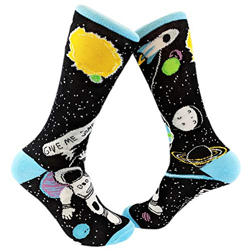 Crazy Dog Tshirts - Give Me Some Space Sock Funny Astronaut Footwear (Black) - Mens (7-12) - Herren - Mens (7-12) (Shirts Dog Crazy)