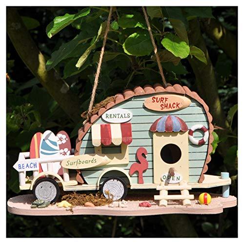 #1118 Nistkasten für z.B. Meisen aus bunt lackiertem Holz zum Aufhängen • Nisthaus Vogelhaus Vogelhäuschen Vögel Garten Deko Retro