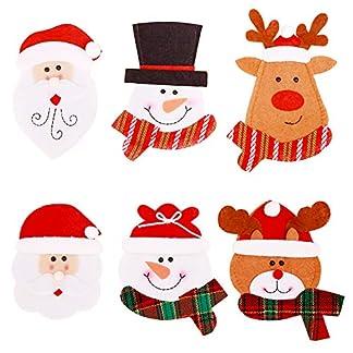 Decoraciones navideñas, 6 unidades, soportes para cubiertos de Navidad, bolsillos para cubiertos, cuchillos, tenedores, bolsas para Navidad, cena, decoración de mesa