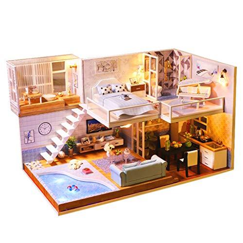 Fcostume Puppenhaus DIY Holzhaus Bausatz, Hölzerne DIY Miniatur Haus Möbel Hauses 3D LED-Hauspuzzle Verzieren Kreatives Geschenk (B)