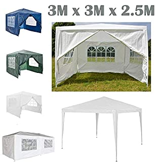 AutoBaBa Garden Gazebo Marquee 3x3x2.5m - White - Garden Tent Outdoor Party Tent Steel Tube Strong Marquee, PE
