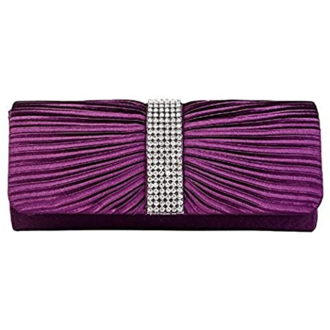Eleoption Womens Satin Diamante Ladies Pleated Bow Wedding Bridal Prom Handbag Clutch Bag (purple)