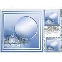Silent Night Snow scene–8in x 8in inserto piastra by Sue Douglas