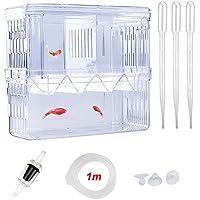 SENZEAL Upgrade Kunststoff Fischzuchtbehälter Multifunktionale Zucht Inkubator Box mit 3pcs Pasteur Pipette und Einem Kunststoff-Rückschlagventil