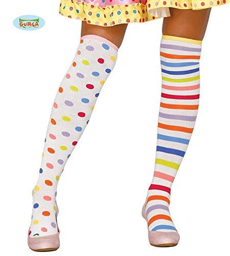 1 Paar STRÜMPFE - CLOWN -, Überknie Overknee Over the Knee Zirkus Spassmacher Mädchen (Girl Kostüme Clown)