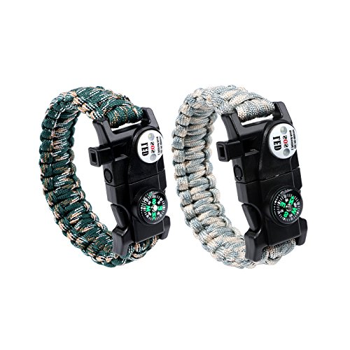 Survival Armband Gear Paracord Armband Multifunktional verstellbar Armband Wasserdicht LED SOS Signal Kompass Fire Starter Scraper Flint Whistle Kits für Wandern Camping Outdoor Notfall 2Stück