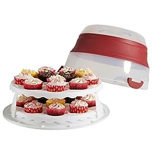VonShef :Conteneur boîte de stockage 2 en 1 de gâteau et de cupcakes avec couvercle ajustable et poignées de transport - permet d'entreposer jusqu'à 24 cupcakes ou 1 grand gâteau(35*26*19cm)