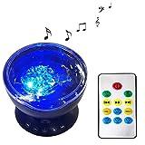 Romantique LED veilleuse lumière d'ambiance projecteur océan lampe de musique de projection avec télécommande (7 modes de lumière / 4 sons naturels), noir