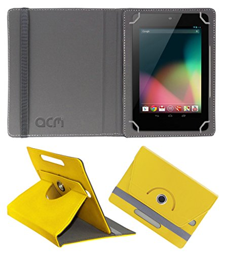 Acm Rotating 360° Leather Flip Case for Asus Google Nexus 7 2012 Cover Stand Yellow  available at amazon for Rs.149