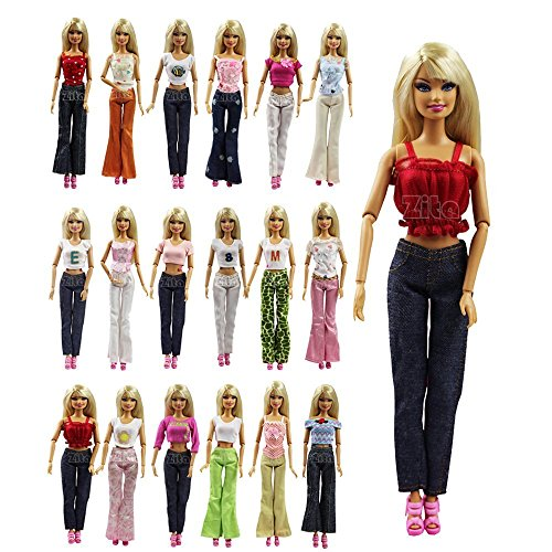 ZITA ELEMENT LOT 5 Handmade Blouse + Trousers Pants Outfit Casual Wear for Barbie Clothes / Barbie (Cute Doll Kostüme)
