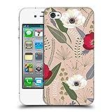Head Case Designs Offizielle Anis Illustration Rot Und Weiss Blumige Muster 1 Ruckseite Hülle für iPhone 4 / iPhone 4S