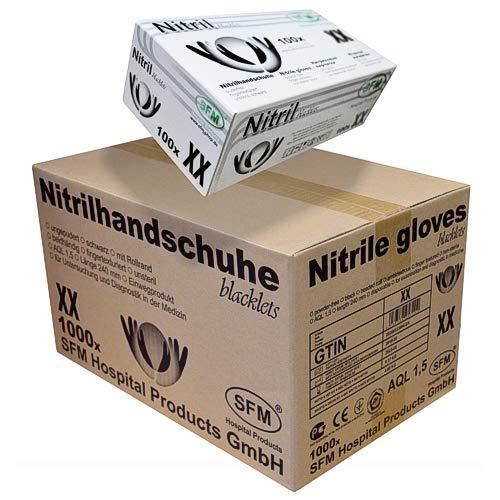 SFM ® BLACKLETS Nitril : XS, S, M, L, XL schwarz puderfrei F-tex Einweghandschuhe Einmalhandschuhe Untersuchungshandschuhe Nitrilhandschuhe S (1000)