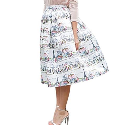 Bluester Womans Floral Printing Knee-Length Skirt Short Mini Skirts (L)