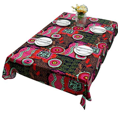 Dexinx variopinta della copertura rettangolare prova della polvere tavolo da pranzo tovaglia impermeabile per il ristorante cucina sala decor partito (pink 90 * 140cm)