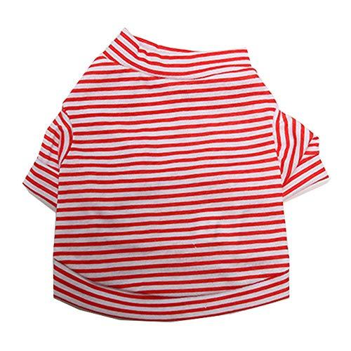 Shirt Red Tuxedo Kostüm - XGPT Hundebekleidung Haustier Kostüm Cotton kleine frisch gestreifte Haustier T-Shirt Teddy Kleidung,Red,M