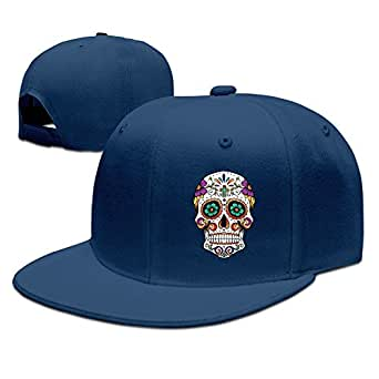 Abstract Colorful Skull Custom Hip Hop Hat Baseball Cap Adjustable Snapback Flatbill Navy