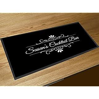 Artylicious Personalised Black flourish Cocktail Bar name bar runner counter mat