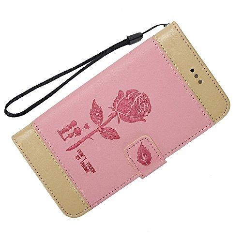 Dual Color Matching Premium PU Leder Flip Stand Case Cover mit Karte Cash Slots und Lanyard für Samsung Galaxy HINWEIS 8 ( Color : Brown ) Pink