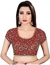 09b2d65b5fd8f3 Spangel Fashion Black Red Flower Round Neck Women s Saree s Blouse