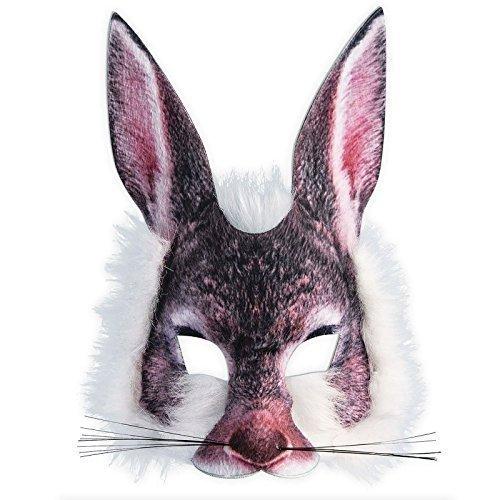 Realistisch Gesicht-maske Buchwoche Tier Zoo Dschungel Wald Creature Karneval Gesichtsmaske für Erwachsene und Kinder - Rabbit ()