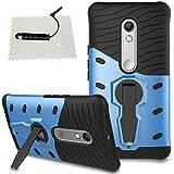 TOCASO Hüllen Moto X Play, Schutzhülle schwarz Stoßabweisende Handyhülle [Heavy Duty Serie] Armor Case [Stoßfestes Etui] [Blau] Handy Schutzhülle Hülle Moto X Play schwarz-Armor Blau