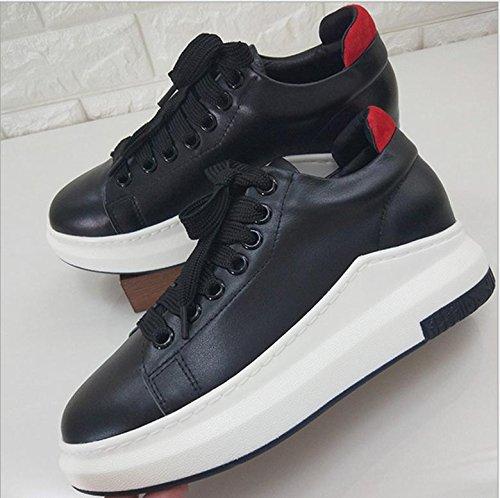 2017 Petit Cuir Blanc Sandales Fond Épais Unique Chaussures De Sport Sauvage Chaussures Plates Chaussures De Sport Noir