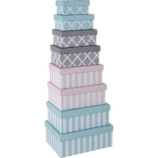 Paper Collection Muebles Hogar Accesorios DDecorativos Organizaci/ón Contenedores Juego de 3 Cubos en Cart/ón de Almacenaje con Tapa Rosas Romanticas Varios Tama/ños