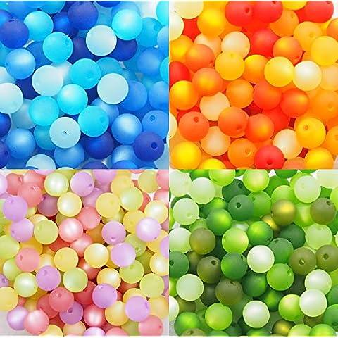 Juego de 4con perlas de por polarisperlen24–Mezcla de perlas (Juego de 6mm, Azul, Naranja, lila de color rosa, verde, perlas de producción alemana