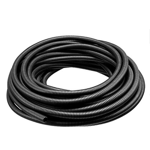 ZCHXD Corrugated Tube Conduit PP Polyethylene Tubing Flexible Pipe Hose Black 10mm Inner Dia 13mm Outer Dia. 16.25M Long - Corrugated Polyethylene Pipe