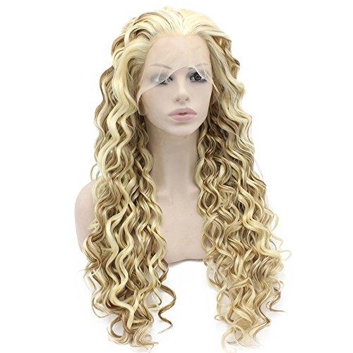 Iwona Lace Front zweifarbig blond mix lockig Synthetic Perücke Natural Modisch Fasern blond lockig (Blonde Perücken Halloween Lockige)