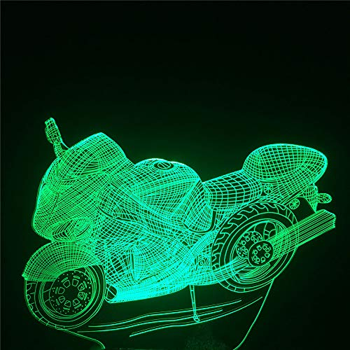 Yoppg 3D Illusion Lampe Led Nachtlicht Touch-Schalter 7 Farben Schreibtisch Optische Illusions Lampen Usb Or Batterie Betrieben Kind Weihnachtsgeschenk Kühles Motorrad -