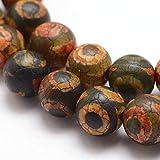 Tibet DZI Achat Buddha Perlen 8mm Natur Effloresce Edelstein Rund Tibetanischer Halbedelstein Edelstein Achat Stein Schmuck Kette Armband Agate Gemstone Beads G726 x2