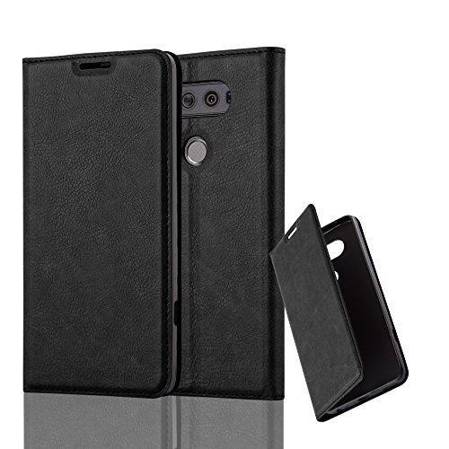 Cadorabo Hülle für LG V20 - Hülle in Nacht SCHWARZ – Handyhülle mit Magnetverschluss, Standfunktion und Kartenfach - Case Cover Schutzhülle Etui Tasche Book Klapp Style