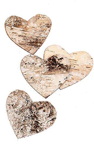 Birkenherz, Rinde, 200 Stück, Natur, 2,5 x 2,5 cm - Weiße Birke Natürlichen