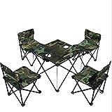 KANGLE Klapptisch Und Stuhl Set Von 5 Outdoor Portable Rucksack Camouflage Picknick Angeln Stuhl