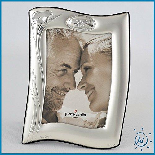 Portafoto argento laminato regali matrimonio e anniversari cornice per foto pierre cardin linea anniversaire 25 anni matrimonio anniversario mis. cm 9x13
