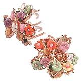 Lot de 2 Pinces à Cheveux en Métal avec Mini Fleurs Style Romantique Adorable Pour Filles Ados Femmes