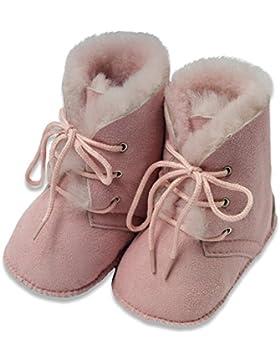 AM artmoda Lammfell Babystiefel für Mädchen, Hausstiefel BonBon in rosa