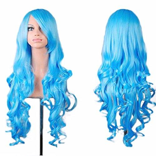 FEITONG Frauen Perücken Lange Haare Perücke Curly Wavy Synthetische Anime Cosplay Perücken (Länge: 80cm, ()