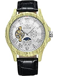 SEWOR reloj para hombre Tourbillon automático Shallow grano de madera caso fase de la luna esfera blanca mecánico Piel de color negro reloj de pulsera