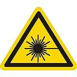 Warnzeichen W004 - Warnung Laserstrahl - Seitenlänge 12,5 mm - 30 Warnschilder aus Vinyl Folie, gelb, permanent haftend