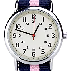 Orkina Quartz Silver Case Fashion Colorful Nylon Canvas Band Wrist Watch BU001-WMC