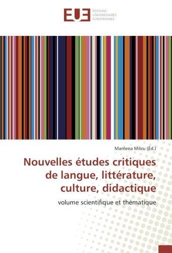 Nouvelles études critiques de langue, littérature, culture, didactique