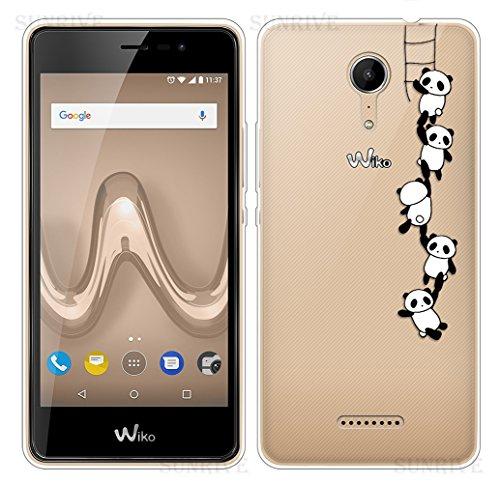 Sunrive cover per wiko tommy 2, custodia case in molle trasparente tpu silicone morbida flessibile pelle antigraffio protettiva(tpu panda 1)