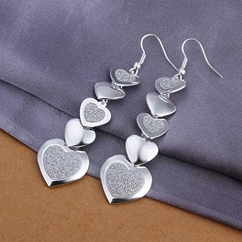 Mehrherzige Sandohrringe Herzform Silber Ohrringe Damen / Edelstahl / Anti-allergie / Silber Blinkend / Kleine Exquisite / Haken Ohrringe,Zahl