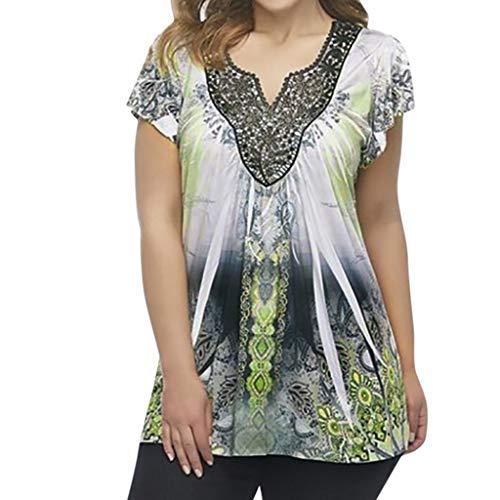 Dhyuen Frauen Vintage Plus Size Tunika Tops Mit Blumenmuster Kurzarm Cut V-Ausschnitt Plissee Swing Bluse Shirt Pullover