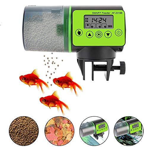 Ritapreaty Mangeoire Automatique pour Poissons avec écran LCD, Distributeur de Nourriture pour Poissons d'aquarium à synchronisation Intelligente 15 x 7,5 x 11 cm