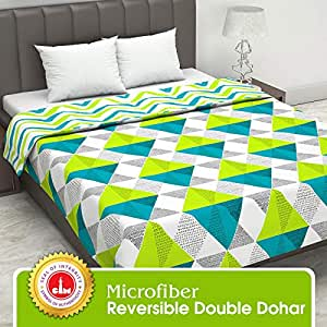 Divine Casa Twilight Geometric 110 GSM Microfiber All Weather Double Dohar - Green and Blue